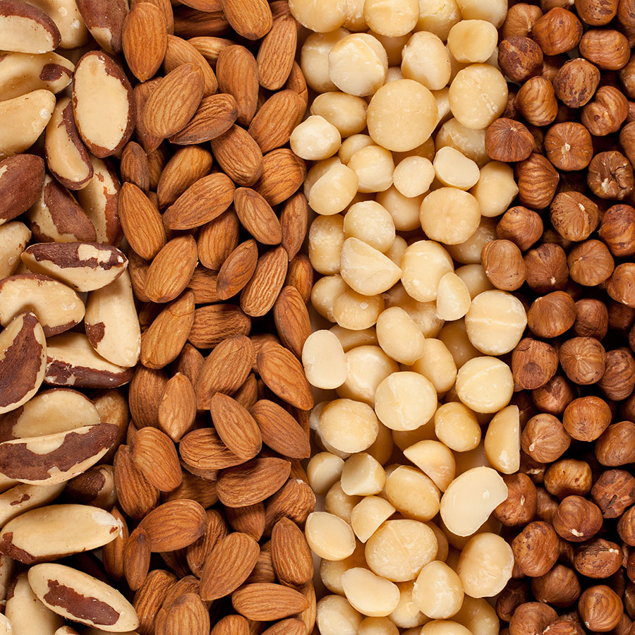 Assortment of nuts sourced by Bernard for restaurants in Canada